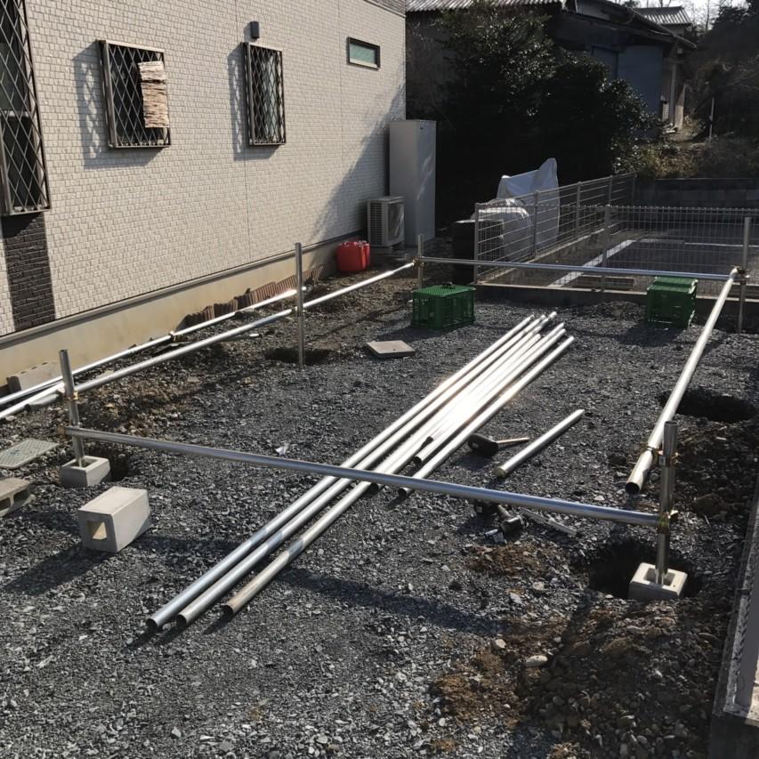 単管パイプ 車庫 基礎